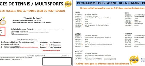 Le TCPE organise pour vos enfants (à partir de 5 ans) des stages pour les vacances de la Toussaint. Dates : du 23 au 27 Octobre 2017 Formules Formule Horaires […]