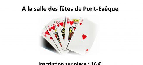 Le TCPE organise un concours de belote le dimanche 10 février à 14h, salle des fêtes de Pont-Evêque. L'inscirption est de 16€ par doublette. Tous les joueurs seront récompensés. Nous […]